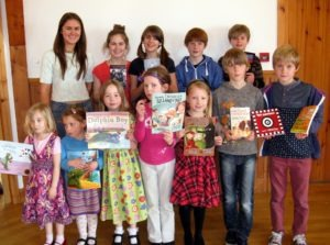 Sunday School members with their new books