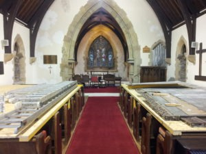 The Church during the renovation work. The nave has been painted, except for the Chancel arch, where loose plaster needs to be rectified.