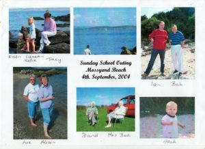 A collage of photos taken at the Sunday School outing to the beach at Mossyard in 2004