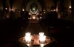 St Ninian's - candle-lit before people arrived for the Evening Service of Hymns and Readings for Advent