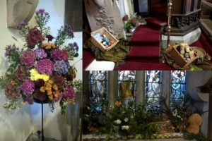 Just some of the beautiful arrangements in the Church. Donations of food were being given to the Castle Douglas Food Bank