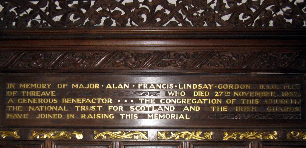 Memorial to Major Alan Gordon in the Chancel