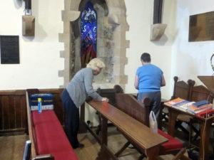 Joy and Sue polishing ...