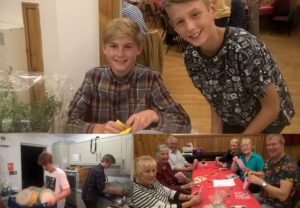 Jack and William, who sold tickets and raffle tickets; Sam and Euan hard at work in the kitchen and the table which achieved the highest score (but only just) in Rosie's Harvest Quiz