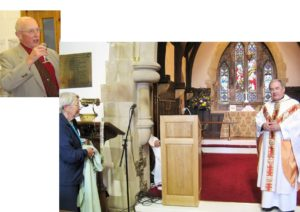 The presentation of a Lectern for use in the Hall, which has been given in memory of Ronnie MacKenzie (1932-2010) by his sister, Sheila MacKenzie