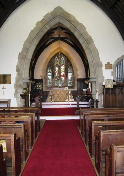 The interior of St Ninian's, facing east