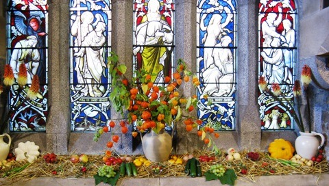 Parable of the Sower Window decorated with autumn fruit, vegetables and flowers