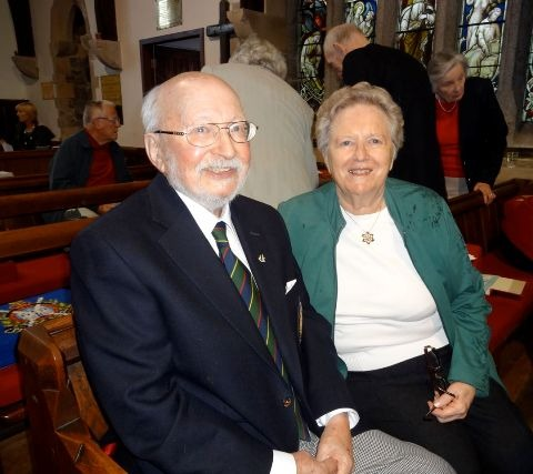 Harry and Gill, as people arrive for the 11.00am Service. Good to see Tim and Shirley Tuke in the background!