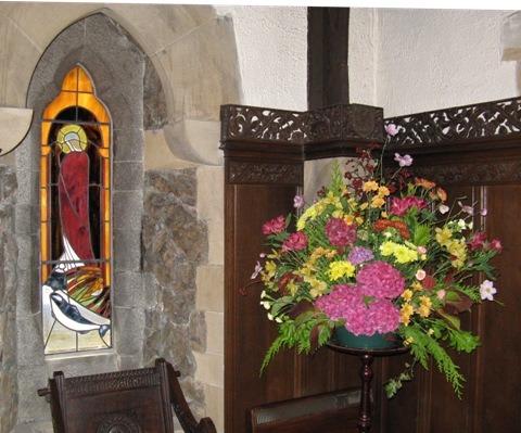 Floral display in Sanctuary beside St Kentigern Window