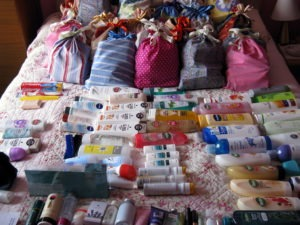 The bags containing the toiletries were made by Miranda, a member of St Ninian's Mothers' Union from Dalbeattie